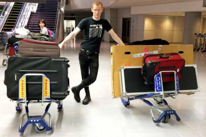 Peter Chordas with luggage in Narita Airport